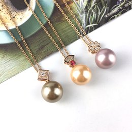 $enCountryForm.capitalKeyWord Australia - Summer Natural Akoya shell pearl Pendant Stainless steel Necklaces Good quality CZ brass Pendant Silver Rose gold Plated Fashion simple 14mm