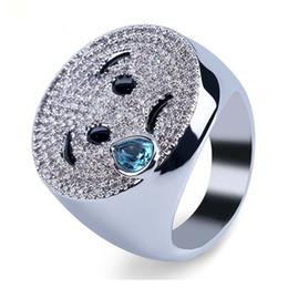 $enCountryForm.capitalKeyWord NZ - Hip Hop Mens Diamond Ring Luxury Designer Jewelry CZ Emoji Simle Rings NightClub Geometry Crying Finger Rings Boys Bling Rock Wedding Gift