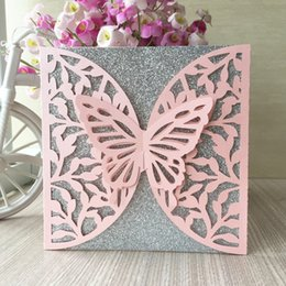 $enCountryForm.capitalKeyWord Australia - 50PCS  lot Lace Design Hollow Big Butterfly Wedding Invitation Cards Exquisite Greeting Cards Fancy Dress Party Invitations