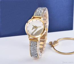 DiamonD japan quartz movement watch online shopping - New Relojes De Marca Mujer golden watch women diamond Bracelet Watch Japan movement fashion dress wristwatches Luxury watch high Quality