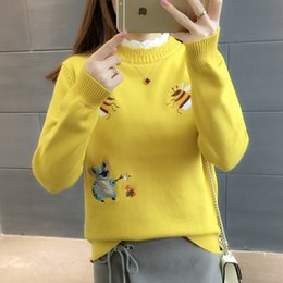 korean clothes sweater knits Australia - 2019 Women Spring Autumn Knitting Sweater Fashion Korean Long Sleeve Embroidery Bee Sweaters Ladies Harajuku Pullover Clothing