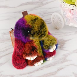 Monkey chains online shopping - 2019 new cute rabbit plush pendant lazy rabbit fur cute rabbit jewelry plush toys key chain backpack ornaments toys