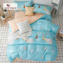 $enCountryForm.capitalKeyWord Australia - SlowDream Elk Bedding Set Cartoon Style Bedspread Nordic Duvet Cover Flat Sheet Pillowcase Set Decor Home Textiles Quilt Cover