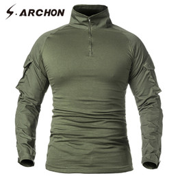 Discount paintball uniforms army S.ARCHON Tactical Long Sleeve T Shirt Men SWAT Soldier Combat Uniform Shirts Fitness Breathable Paintball Army T-Shirt
