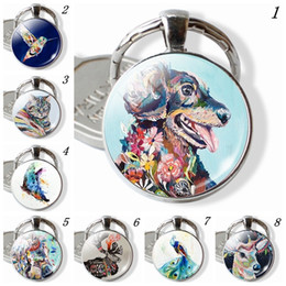 Painting Faces Australia - Oil Painting Animals Keyring, Cat Dog Keychain, Butterfly Hummingbird Pendant, Horse Elk Peacock Jewelry