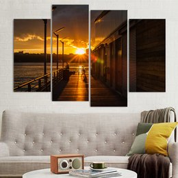 $enCountryForm.capitalKeyWord Australia - Wall Popular Decoration Paintings On Canvas 4 Piece Pcs Sunset City Evening Pictures Landscape Home Art For Living Room HD Print