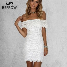 Wholesale off white lace summer dress resale online – BEFORW New Summer Women White Lace Stitching Dress Off Shoulder Strapless Bodycon Dress Slash Neck Mini Dresses party