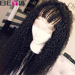 Parrucca frontale in pizzo 360 Pre pizzicato con capelli del bambino Malese parrucche crespi ricci crespo anteriore del merletto per le donne Remy 150 Density Beyo in Offerta