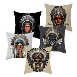 indian cotton wholesalers UK - Indian Chief Skull Smile Feather Headwear Cushion Covers Indian Style Elephant Pillow Cases 44X44cm Sofa Chair Decoration