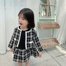 Child blazers online shopping - Lady style children princess outfits fall kids long sleeve splicing plaid dress lattice blazers outwear sets baby girl clothes F9575