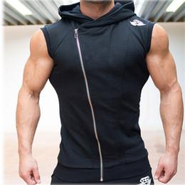 men sleeveless hooded t shirt 2019 - Wholesale Mens Sleeveless Sweatshirt Hoodies Top Clothing T -Shirt Hooded Tank Top Sporting Hooded For Men Gym Cotton So