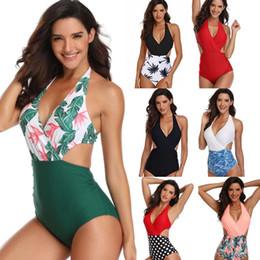 $enCountryForm.capitalKeyWord Australia - Sexy One Piece Swimsuit High Rise Bandage Printed Bikini Swimsuit Swimwear Beach Wear Tanks Pants Plus Size Women Clothes Clothing S-3XL