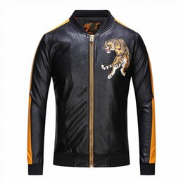 3ab41e892fe Embroidery tiger Men Motorcycle Leather Jackets Business Casual Coats Autumn  Faux Leather Clothing Bomber Jacket Suede for Male