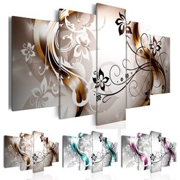 Oil Color Abstract Canvas Australia - 5 Panel Oil Painting on Canvas Flowers Butterfly Abstract Modern Fashion Painting for Bedroom and Livingroom,Choose Color And Size ( No Fram