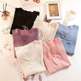 string computers UK - Women Autumn Knitted Sweater V-neck Full Sleeve Draw String Sweaters Pullovers Female Soft Top for Female Knitting Sueter Mujer