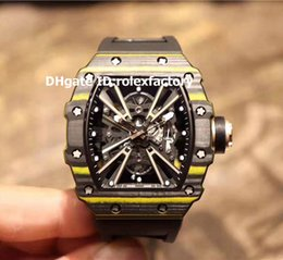 a061088d200 TiTanium black auTomaTic skeleTon waTch online shopping - New Model Mens  Watch Black Yellow TPT Carbon