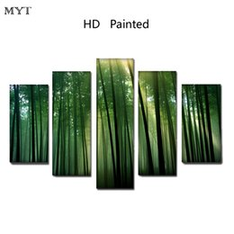 Discount bamboo painted wall rooms - New arrived Sunlight Clear Green Bamboo leaves High Quality HD Printed 5 Pieces Canvas Wall Art picture for living room