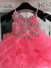 $enCountryForm.capitalKeyWord NZ - Cute Pageant Dresses for Toddler Infant Baby Girl Little Miss 2019 Unique Neon Pink Cupcake Glitz Kids Prom Party Gowns with Ruffle Skirt