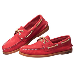$enCountryForm.capitalKeyWord NZ - Hot Sale-Egmont EG-52 Red Spring Summer Boat Shoes Mens Casual Shoes Loafers Genuine Leather Handmade Comfortable Breathable