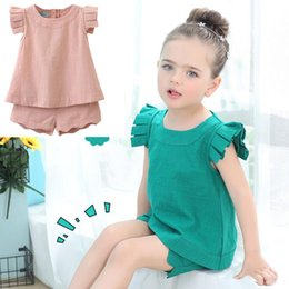 Wholesale Little Girls Outfits Clothes Shirt Blouse Vest Tops Shorts Pants Gifts for Kids Children Brief solid Green White