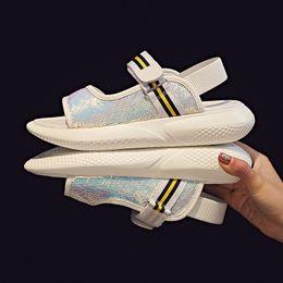 $enCountryForm.capitalKeyWord NZ - Women Open Toe Sandals Sequins Casual Shoes Girls Ankle Strap Sandal Sports Gym Fashion Snakers Hook & Loop Platform Shoes