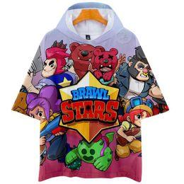 $enCountryForm.capitalKeyWord Australia - Popular Game BRAWL STARS 3D Cos short-sleeved hooded T-shirt unisex couple love casual cosplay New Style Exclusive Hot Hoody Tee