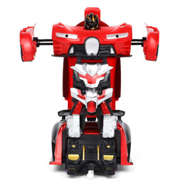 Chinese  Automobile Form 2in1 RC Car Transformation Robots Models Remote Control Red Orange Changeable Robot Cars For Kids Toys Ct022 manufacturers