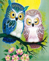 Painting Room Blue Australia - 40x50cm Coloring by numbers on canvas with acrylic paints Cartoon photos Owls Scandinavian wall paintings for living room home decor