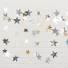 $enCountryForm.capitalKeyWord NZ - 4m Bright Gold Silver Star Party Decoration Paper Garlands Wedding Screen Decor Birthday Party Supplies Bedroom Decor