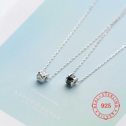 $enCountryForm.capitalKeyWord Australia - silver necklace design ideas Pure 925 Sterling Silver Wholesale Black White CZ Zircon Pillar Shape Cylinder Pendant Necklace