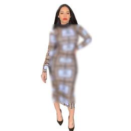 HigH collar tea lengtH dresses online shopping - Women Designer Dress Long Slim Leopard Summer Luxury Dresses Brand Long Sleeve Bodycon Skirt Womens Clothing Plus Size Party Dresses C71707