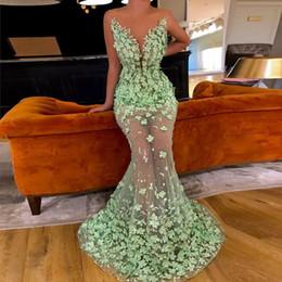 Light Green Pearls Australia - Mint Green Muslim Evening Dresses 2019 Mermaid Tulle Flower Pearls See Through Dubai Saudi Arabic Long Evening Gown Prom Dress