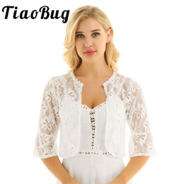 $enCountryForm.capitalKeyWord Australia - Women Female Floral Lace Wrap Fashion Half Bell Sleeve Open Front Sheer Floral Lace Bolero Shrug Shawl Bridal Cardigan Tops