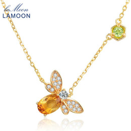 $enCountryForm.capitalKeyWord NZ - LAMOON Little Bee 14K Yellow Gold Pendant Necklace For Women Natural Citrine 925 Sterling Silver Fine Jewelry Bijoux NI015