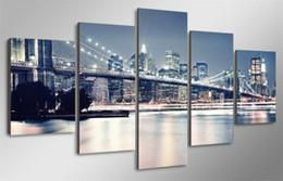 $enCountryForm.capitalKeyWord Australia - NY Brooklyn Bridge,5 Pieces Home Decor HD Printed Modern Art Painting on Canvas (Unframed Framed)