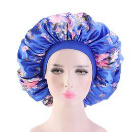 $enCountryForm.capitalKeyWord Australia - Muslims Women Elastic Big Wide Silky Print Turban Hat Chemo Beanie Skull Headwear Cap For Cancer Patients Hair Accessories