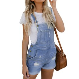 China Light Blue Denim Stretch Cotton Short Overalls 2019 Woman Like Denim Pants Pantalon Femme #LC786091-4 cheap light denim short overalls suppliers