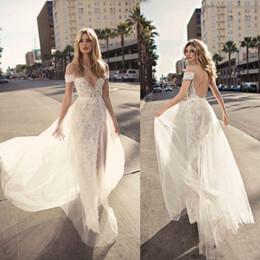 Petite Wedding Gown Pink Australia - Berta 2019 Sheath Wedding Dresses High Slit Side vestidos de noiva V Neck Backless Bridal Gown Lace Bohemia Wedding Dress Off Shoulder Strap