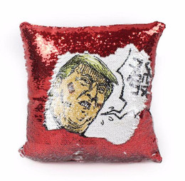 Chinese  40*40cm Reversible Trump Cushion Cover Nicolas Mermaid Sequin Pillow Case Pillowcase Car Waist Pillowslip 5styles 20 pcs manufacturers