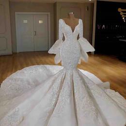 $enCountryForm.capitalKeyWord Australia - Bell Big sleeves Mermaid Wedding Dresses 2019 Deep V Neck Lace Applique Chapel Train Plus Size Bridal Gowns