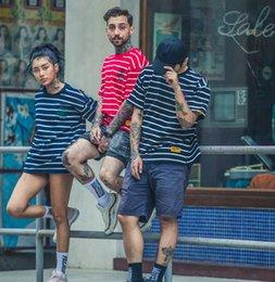 T Shirt Man Hong Kong Australia - 19SS designer Hong Kong style street fashion men's t-shirt striped round neck loose couple short-sleeved men and women tide free mail