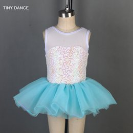 kids red white blue tutu NZ - White Sequin Lace and Mesh Tank Leotard Bodice with Layer of Blue Tulle Tutu for Kids Stage Performance Ballet Dance Tutus 19803