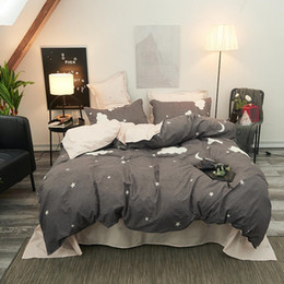 grey king bedding set Australia - Fashionable Star Grey Soft Comfortable Bedding Set King Full Double Size Bed Lining Sheets Pillowcase Sheets