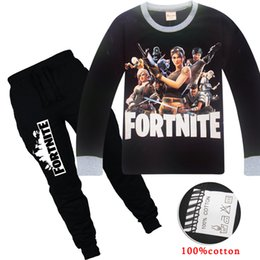 high kids clothes 2019 - Fortnite long sleeve boys designer clothes set New fashion high quality boy leisure outfits T-shirt+pants 2pcs set child