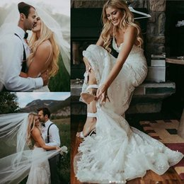 8b9a59d1f9a White Ivory Lace Boho Beach Wedding Dresses 2019 Sexy Spaghetti Straps  Garden Bridal Gowns Backless A Line Wedding Dress Vestidos De Novia