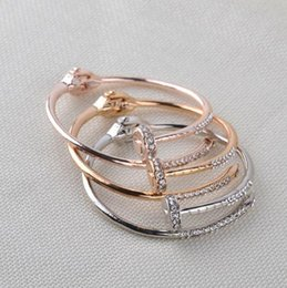Love naiL online shopping - Drop shipping Nail Bracelet with Full Crystals for Girls Women Openable Stainless Steel Cuff Bangles Love Jewelry