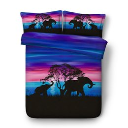full bedding for boys UK - Animals Elephant Print 3 Pieces Duvet Cover Set 2 Pillow Shams No Comforter Kids Girls Bedding Sets Cotton Polyester For Teens Boys Adult