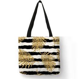 9000e7cc2fba Эксклюзивные бронзовые листья ананаса с набивным рисунком Эко-льняная  большая сумка для женщин Lady Geometry Туристические пляжные сумки Тканевые  сумки