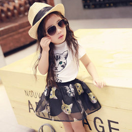 Cat Suit Outfits Australia - Kids Designer Clothes Girls Outfits 2019 new Summer cute Cats Girl Suit short sleeve T shirt+Skirts 2pcs Kids sets kids Dress Suits A3636