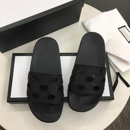 Toptan satış Erkekler Kauçuk Slayt Sandalet Tasarımcı Slaytlar Yüksek Kalite Nedensel Kaymaz Slaytlar Yaz Huaraches Flip Flop Terlik Kutusu Boyutu ile 5-11